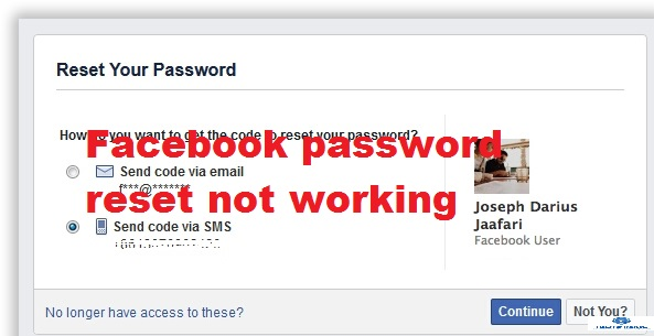 Facebook password reset not working: Can't login