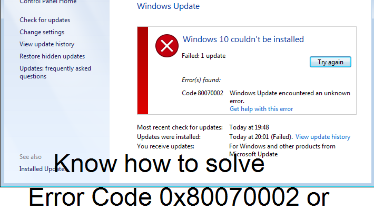 Tips to fix Windows 10 Update Error Code 0x80070002/0x80070003 issue