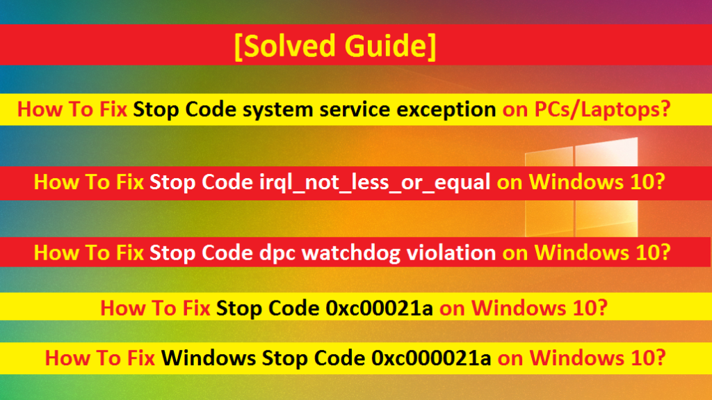How to fix stop code system service exception