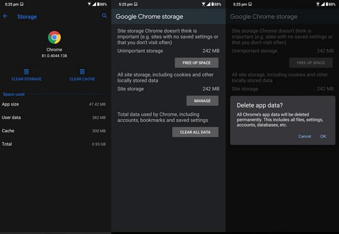 reset google chrome settings
