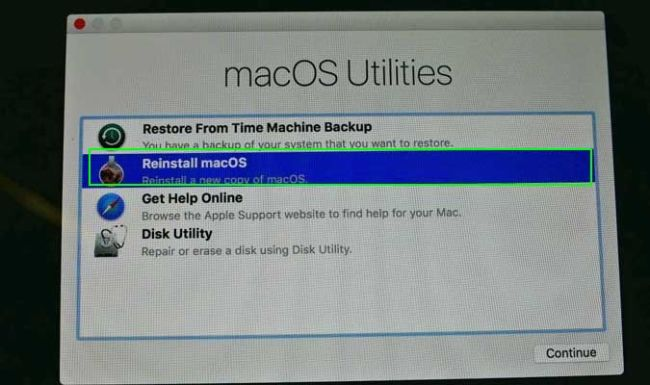 choose reinstall mac os