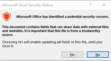 disable Microsoft Word Security Notice
