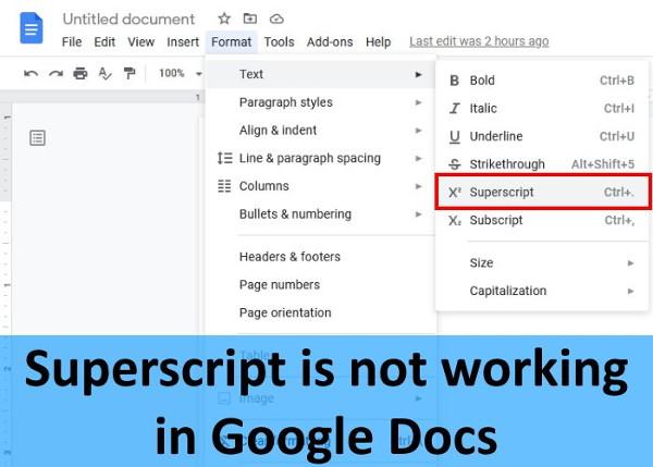 Superscript not working google docs